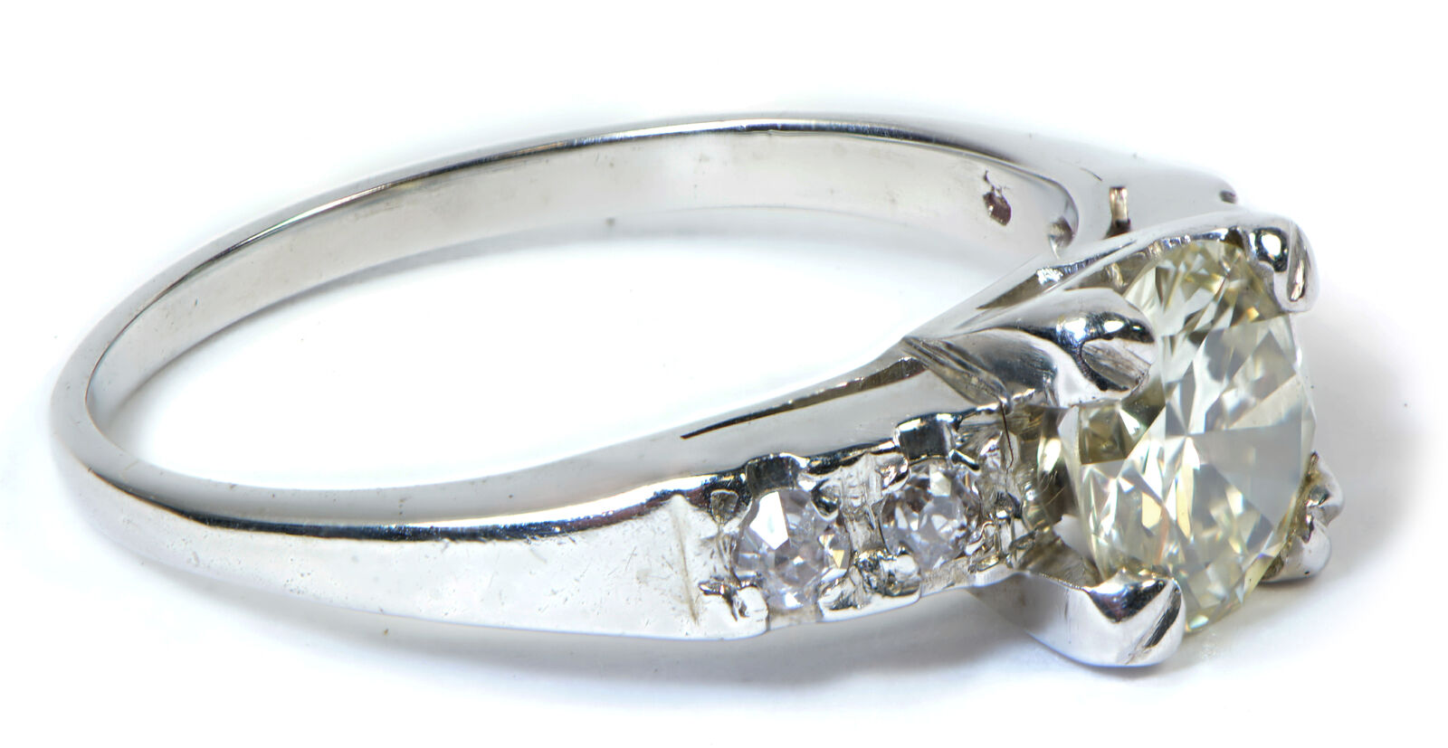 Vintage Early Round Diamond Engagement Ring 18k White Gold Tns Diamonds Philadelphia